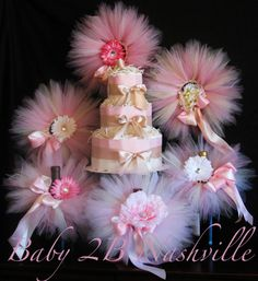 Blush Baby Shower Decorations Package includes 6 newborn tutus, flower clips, headbands, diaper cake made to match your colors via Etsy