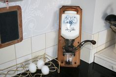 PeDe  Authentic antique coffee grinder with blue door HomiArticles