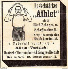 """Werbung - Original-Werbung/ Anzeige 1901 - MUSKEL-STÄRKER """"ATHLET"""" / DEUTSCHE THERMOPHOR - BERLIN - ca. 45 x 45 mm"""