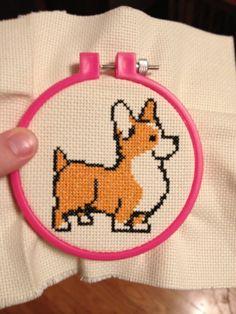 cross-stitched corgi