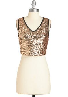 Reliably Radiant Top. The night is bound to be anything but boring when youre taking on the town in this sequined crop top! #gold #modcloth