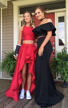 two piece red prom dress, 2018 prom dresses, formal evening dresses