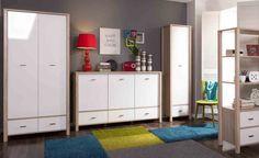Pokój dzienny GASA, dąb sonoma / biały połysk  #meble #dom #wnetrza #wystrój #mieszkanie