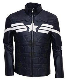 Captain America Winter Soldier Blue Celebrity leather Jacket: Amazon.co.uk: Clothing