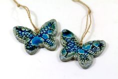Room decor, Christmas tree ornament. Wedding decor. Brown and aqua butterfly ornament. During the festive season, why not add a little more color to your room decor! Hanging from your wall from the ribbon included, or used as attractive additions to any table or sideboard arrangements, these beautiful handmade ceramic butterflies add pleasing romantic elements to your winter style themes.Butterfly ornament.