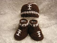 Crochet Baby Football Hat and Booties Set  Photo by crochet2love1, $23.00