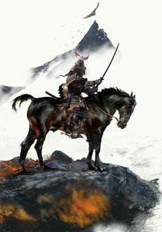 King Samurai by David Seguin Kabuto Samurai, Samurai Weapons, Samurai Warrior, Art Vampire, Vampire Knight, 3d Fantasy, Fantasy Warrior, Mascara Oni, Tattoo Samurai