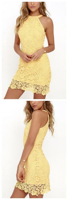 Yellow Halter Lace Details Mini Dress with Zip Design