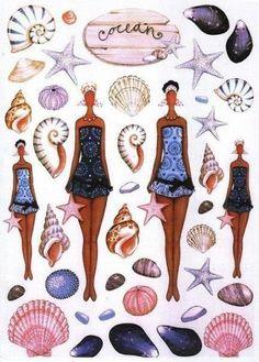 Striking dark colored young lady paper dolls but no outfits - decoupage sheets: TILDA LAMINAS Paper Toy, Paper Dolls, Tilda Toy, Digi Stamps, Soft Dolls, Kirigami, Pics Art, Illustrations, Doll Patterns