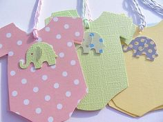 Baby Onesie Gift Tags - Baby Shower Gift Tags - Onesie Wish Tags - Elephant Gift Tags - Baby Gift Tags - Polka dot Gift Tags   ********************************************************    This set features (6) six tags measuring 3 inches x 3 inches ~ Hand cut baby onesies ~ Onesies made from heavy card stock ~ Embellished with sweet little baby elephant cut outs ~ Tags come with corresponding bakers twine ~ These little sets come prettily packaged all ready to give to your special friend or…
