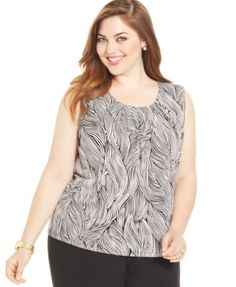 Kasper Plus Size Pleated-Neck Printed Top