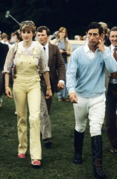 WINDSOR - JULY 12: Lady Diana Spencer, wearing dungarees, attends a polo match with Prince Charles, Prince of Wales at Windsor Great Park on July 12, 1981 in Windsor, England.(Photo by Anwar Hussein/Getty Images)
