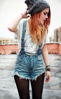 #grunge #denim #overalls #tee #light