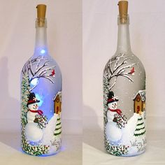 This Snowman Painted Wine Bottle Painted Bottle Lamp is just one of the custom, handmade pieces you'll find in our accent lamps shops. Liquor Bottle Crafts, Wine Bottle Art, Painted Wine Bottles, Lighted Wine Bottles, Bottle Lights, Bottle Bottle, Wine Glass, Bottle Labels, Christmas Lights