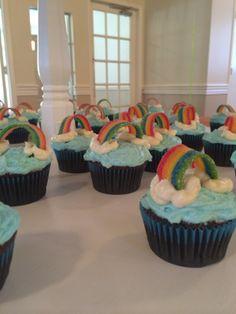 Girl Scout Bridging to Brownies rainbow cupcakes