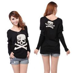 Black skull sleeve pullover sweater