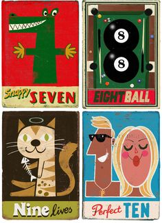 Number illustrations by Paul Thurlby Number Crafts, Collages, Mid Century Modern Art, Alphabet And Numbers, Typography Logo, Grafik Design, Illustrations And Posters, Book Cover Design, Printable Art