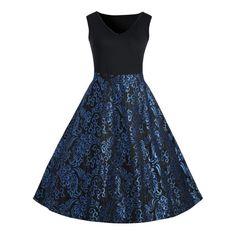 Plus Size Paisley Midi 1950s Vintage Dress - Blue 4xl Mobile