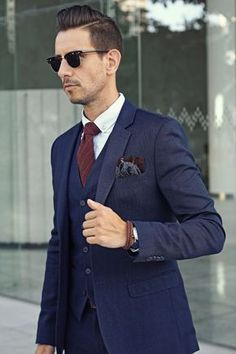 Mens fashion: 3 piece navy suit, burgundy tie, paisley pocket square, tan o Men's Suits, Blue Groomsmen Suits, Suits Women, Groom Suits, Best Wedding Suits, Wedding Men, Wedding Blue, Trendy Wedding, Wedding Bridesmaids