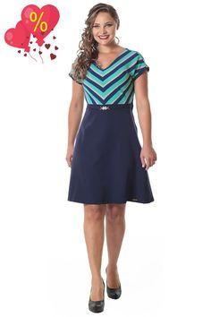 Vestido Evasê c/ listras até Plus size LS8711 - NerisBella Moda Evangélica