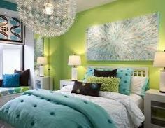 teen girls room green blue and grey - Google Search
