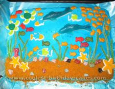 "Cute cake with cute ""underwater creature"" edible ideas! Making for Quinn"