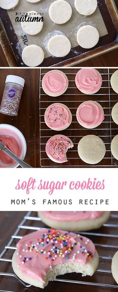 This is, hands down, the best soft sugar cookie recipe, complete with amazing cream cheese frosting. So much better than store-bought! food deserts Soft Sugar Cookies With Cream Cheese Frosting Soft Sugar Cookie Recipe, Soft Sugar Cookies, Yummy Cookies, Cookies And Cream, Cream Cheese Sugar Cookies, Cheese Cookies, Baby Cookies, Heart Cookies, Valentine Cookies