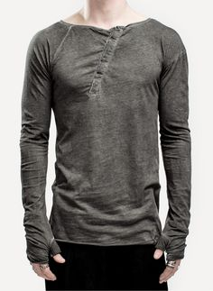 love the placket on an angle - Men's Fashion Lost And Found 08.230.164 Twisted Top