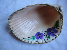 Painted shell with gilded edge; purchased from an antiques mall for two dollars~ Photo by Shirley Hazlett~