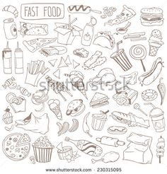 Set Of Various Doodles, Hand Drawn Rough Simple Fast Food Sketches. Ilustración vectorial en stock 230315095 : Shutterstock