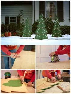 Rustic Christmas Outdoor Decoration Ideas That Are Worth To Try 30 – Outdoor Christmas Lights House Decorations Christmas Tree Painting, Diy Christmas Tree, Holiday Tree, Christmas Design, Rustic Christmas, Christmas Lights, Christmas Holidays, Christmas Music, Christmas Outfits