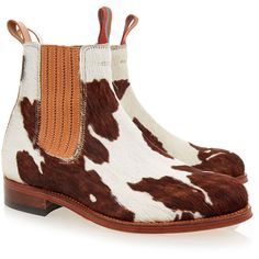 Penelope Chilvers Friesian Printed Calf Hair Chelsea Boot ($225) ❤ liked on Polyvore featuring shoes, boots, ankle booties, multicolour, chelsea boots, white bootie, brown booties, brown ankle boots and pull on ankle boots