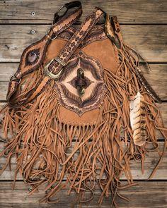 Buffalo Girl Apache Tasseled Bag with Smokey Quartz crystal in soft, velvety tan suede.