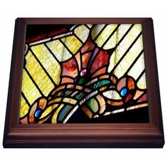 3dRose Abstract Stained Glass Art, Trivet with Ceramic Tile, 8 by 8-inch