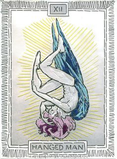hanged man tarot embroidery -- I've never seen him with wings before.  Very…