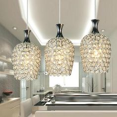 MAMEI Free Shipping Modern 3 Lights Crystal Pendant Lighting for Kitchen Island and Dining Room