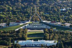 "The Parliament building (rear, under the flagpole) of the ""bush capital"". Australia Capital, South Australia, Western Australia, Australia Travel, House Canberra, Green Roofs, Houses Of Parliament, Tasmania, Capital City"