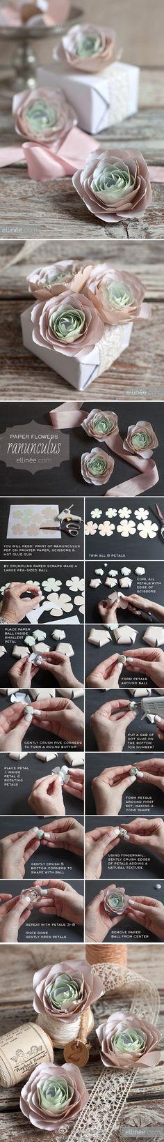 DIY礼品包装纸花教程