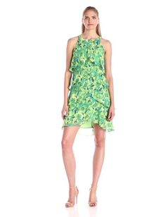 S.L. Fashions Women's Floral Printed Tiered Dress:Summer Fashion: Spring Outfits:Casual Outfits:Cute Outfits: Summer Outfits: Spring Outfits:Spring Outfits:Summer Dress