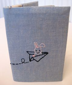 Hand Stitched Passport Cover - Little Bunny flying paper aeroplane