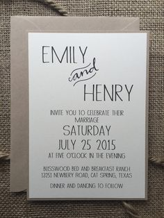 Rustic Modern Wedding Invitation, Elegant & Simple