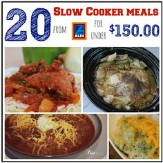 Here's a super easy meal plan - get 20 slow cooker meals from Aldi for under $150.00!  This includes printable shopping list, monthly calendar,  recipes for all 20 meals! #slowcooker #mealplanning #frugalliving