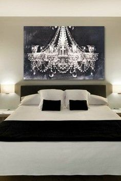Love the large chandelier picture in black and white for a wall at the reception!