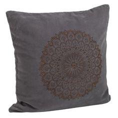 Madam Stoltz cushion in grey with copper mandala print Mandala Print, 50 Shades Of Grey, Home Accessories, Copper, Cushions, Tapestry, Windows, Throw Pillows, Home Decor
