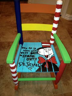 Dr. Seuss Child's Rocking Chair by HalliesHeART on Etsy, $125.00