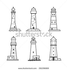 Simple vector icon or logo set of black and white lighthouses. Searchlight towers for maritime navigational guidance