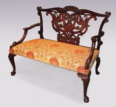 Rare 18th century Chippendale mahogany 2-person settee | Antique wooden seats, benches and furniture | Patrick Sandberg Antiques | http://www.antiquefurniture.net/blog/the-signature-characteristics-of-chippendale-furniture-2500