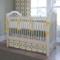 Gray and Yellow Embrace Crib Bedding #carouseldesigns