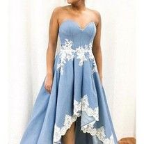 light blue party dress strapless evening dress applique prom dress high low formal dress sold by shuiruyandresses. Shop more products from shuiruyandresses on Storenvy, the home of independent small businesses all over the world. Homecoming Dresses Long, High Low Prom Dresses, Dresses Short, Dresses For Teens, Strapless Dress Formal, Formal Dresses, Dress Prom, Cocktail Bridesmaid Dresses, Princess Prom Dresses