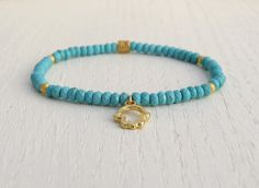 Gold hamsa bracelet, Turquoise gold bracelet, Stretch bead bracelet by SarittDesigns on Etsy